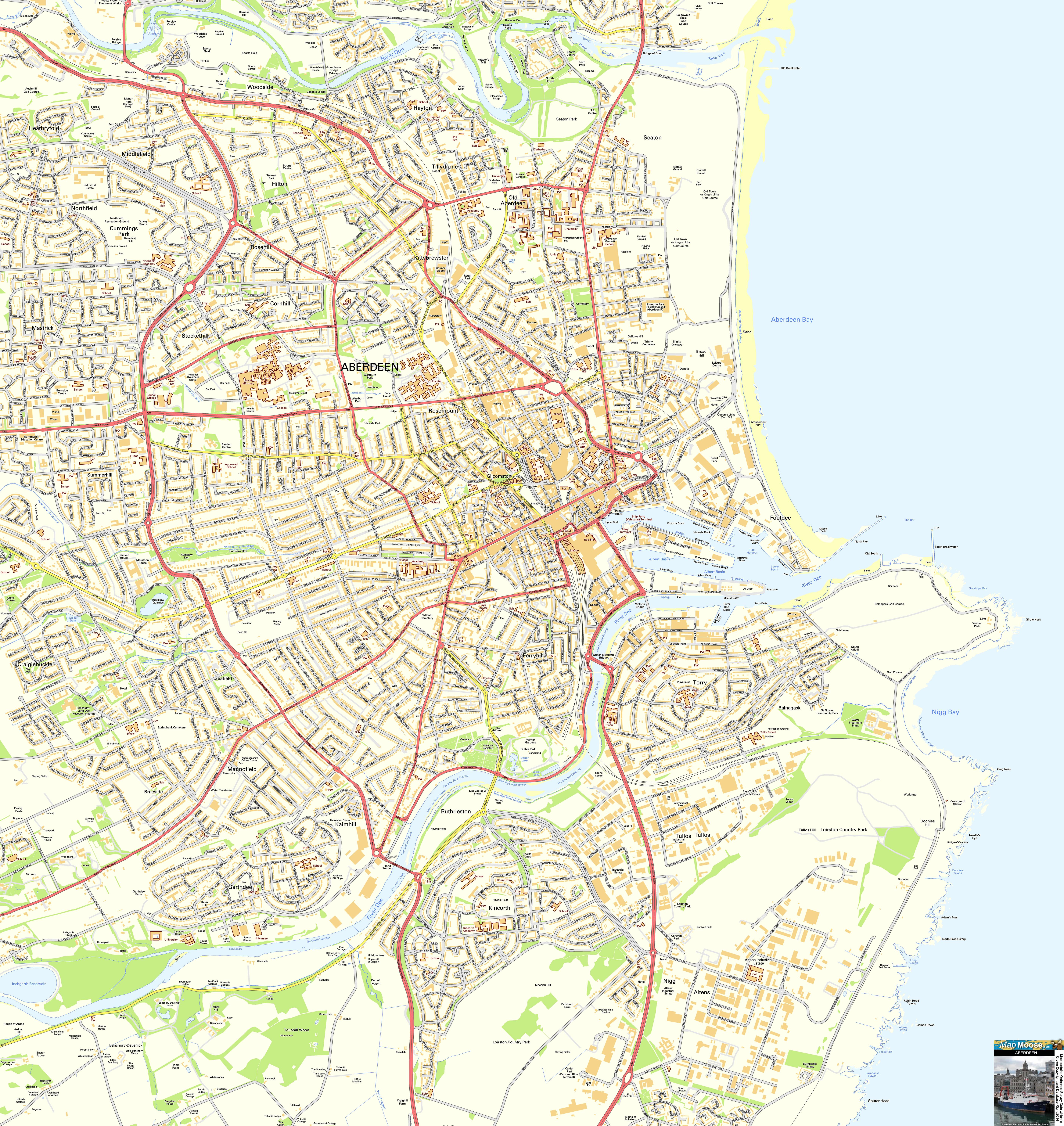 Aberdeen Offline Street Map including the Roman Aberdeens Abbey
