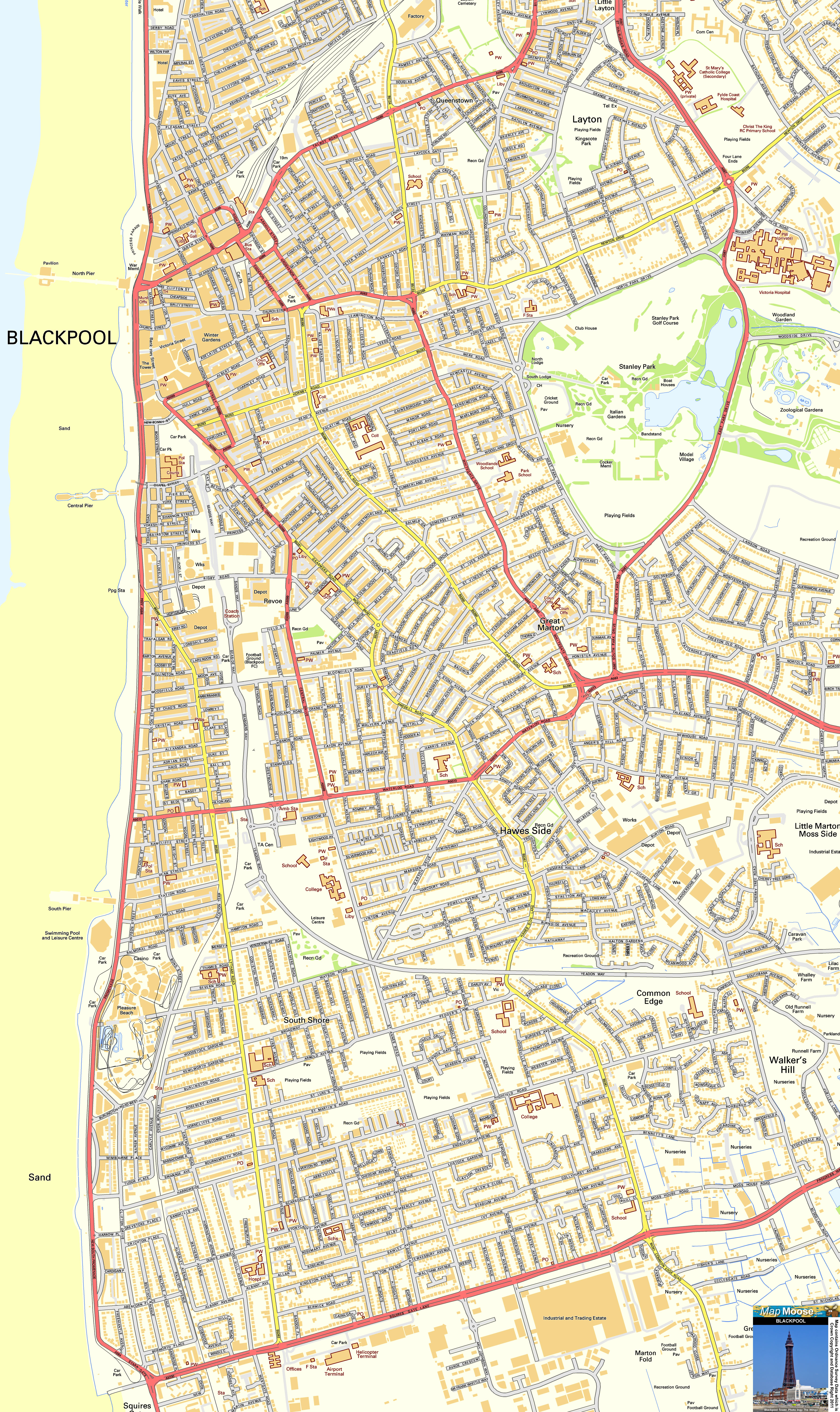 Blackpool Offline Street Map Including The Blackpool Tower - Blackpool map