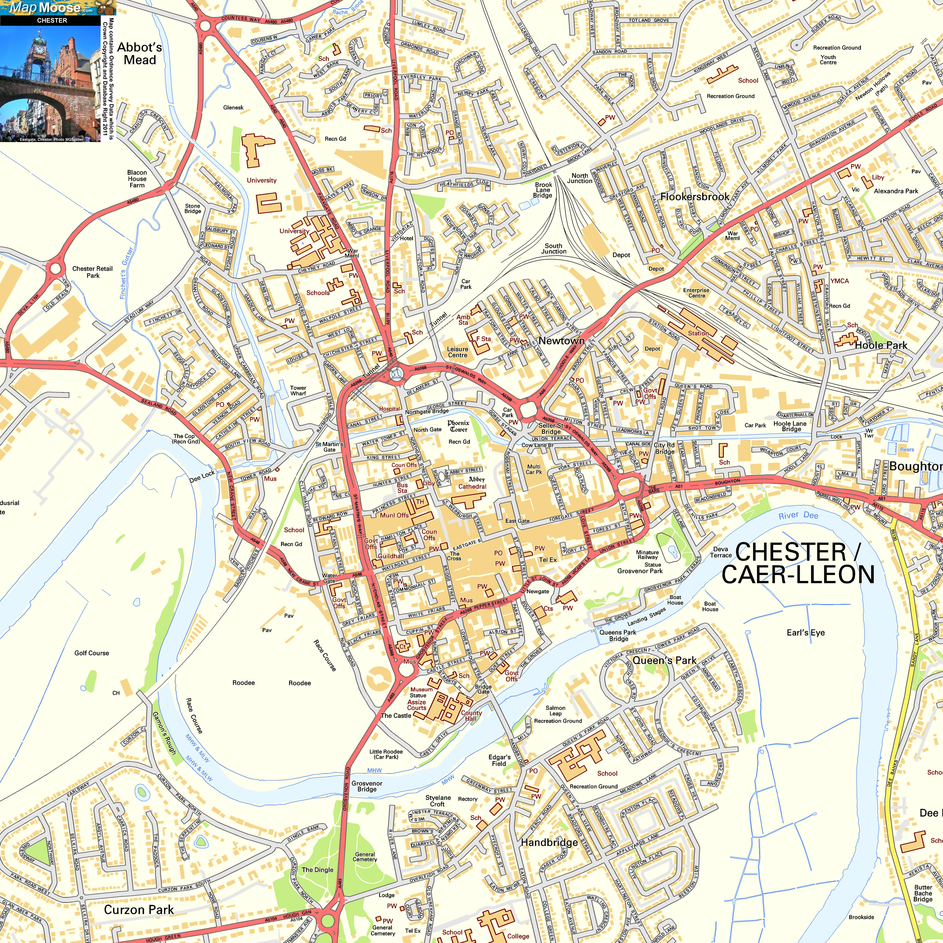 Chester Offline Street Map including the City Walls Eastgate