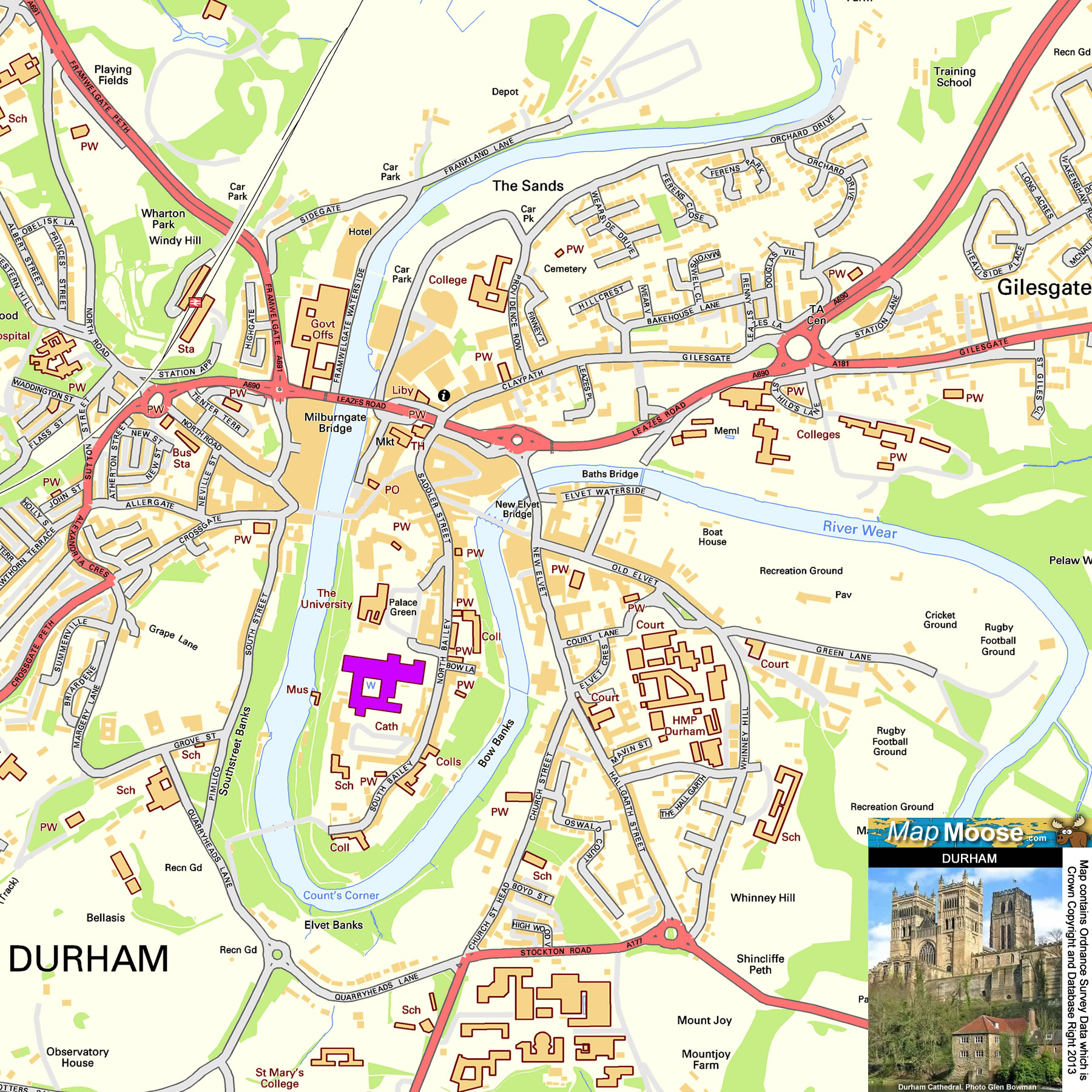 Where Is Durham Free Offline Map Including Durham Castle Durham