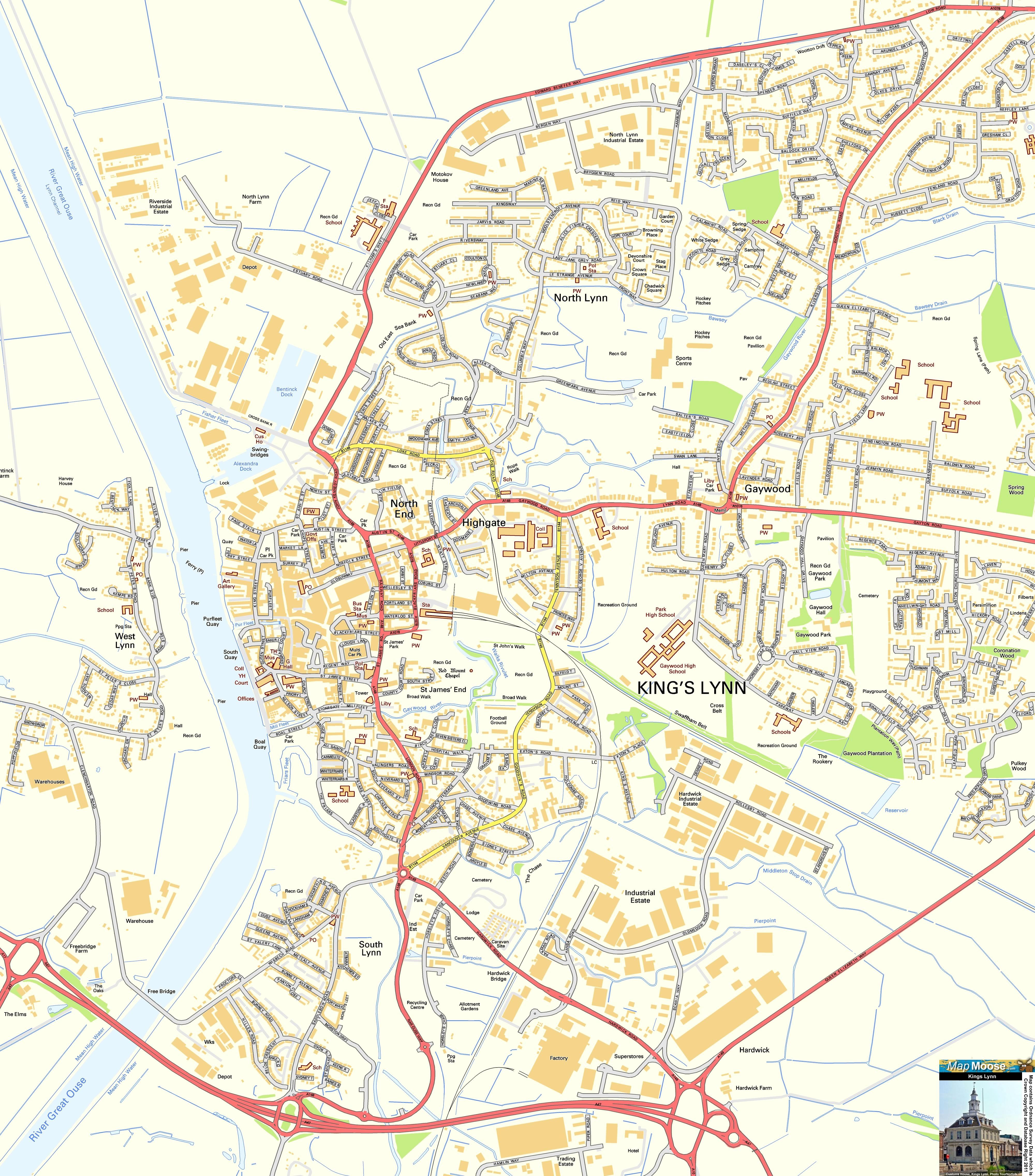 Kings Lynn Offline Street Map including Baol Quay South Quay