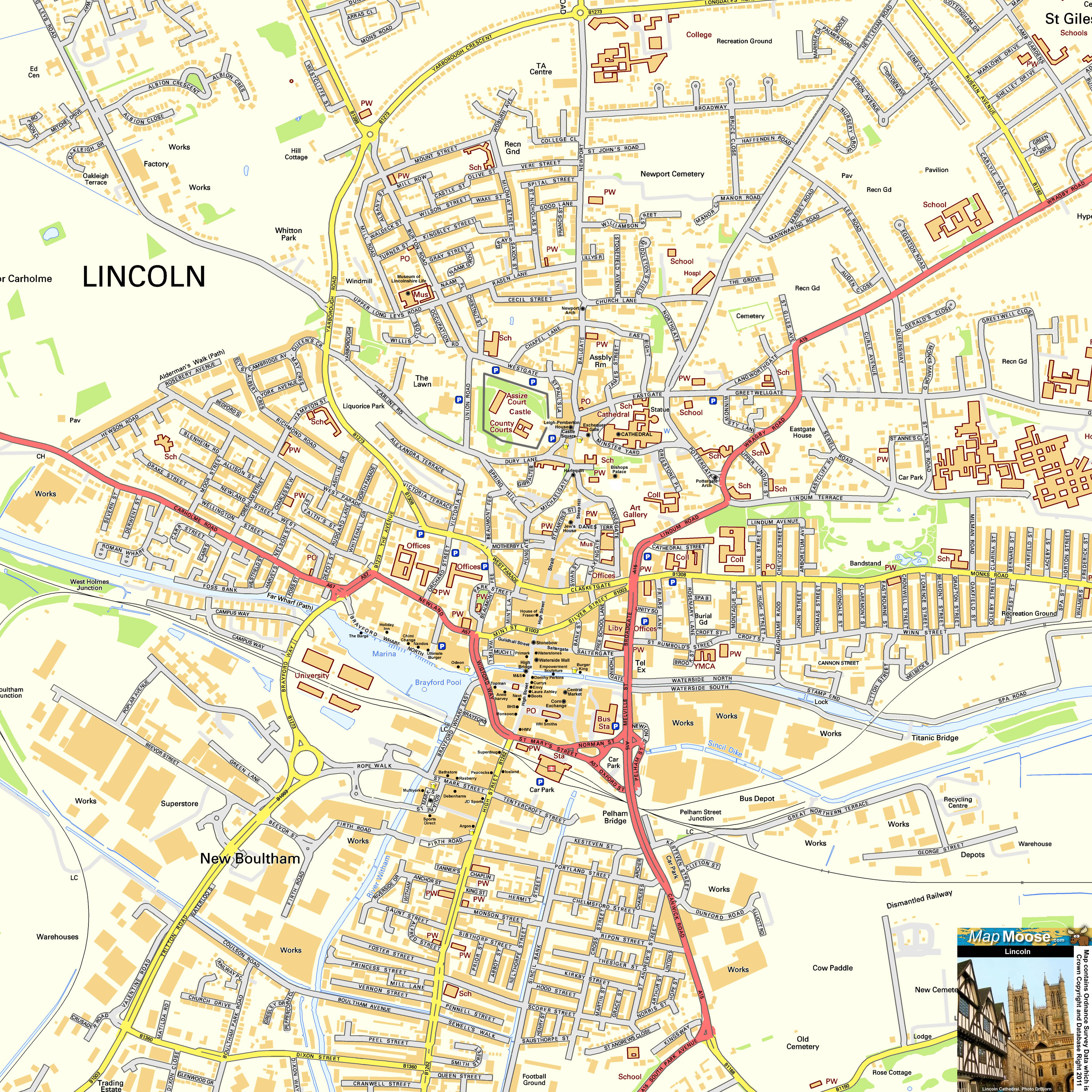 Lincoln Offline Street Map Including Cathedral Quarter