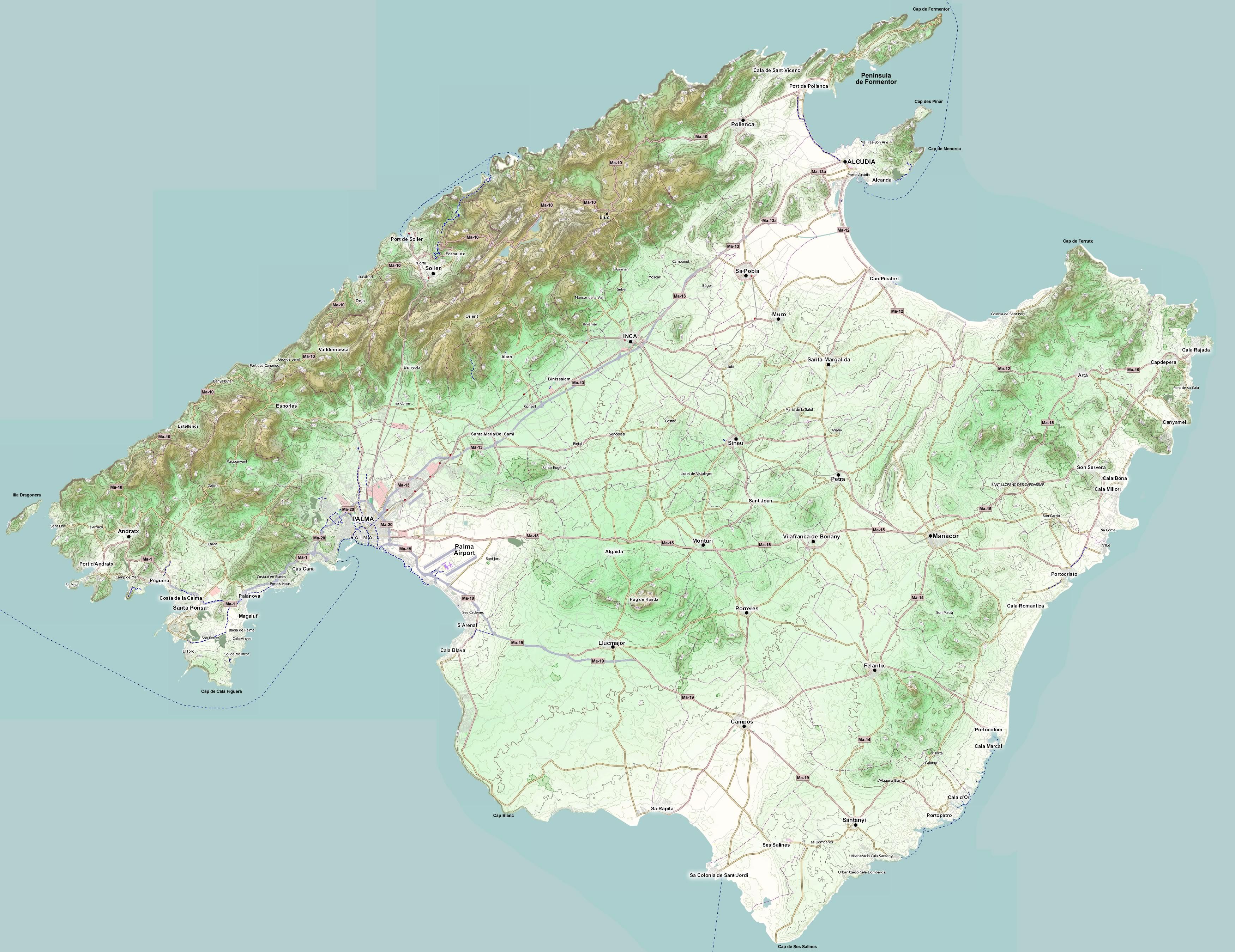 Majorca Offline Map including Palma Magaluf Palmanova Alcudia
