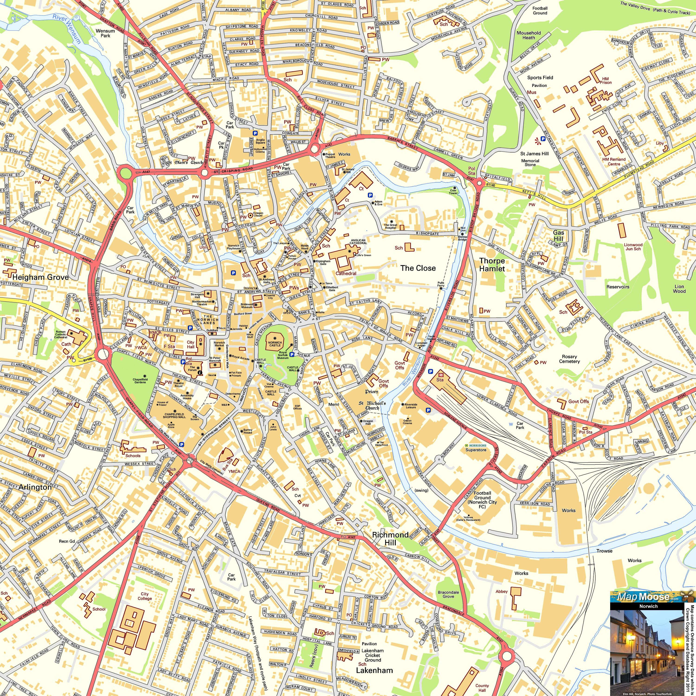 Norwich Offline Street Map including Chapelfield Castle Mall Elm
