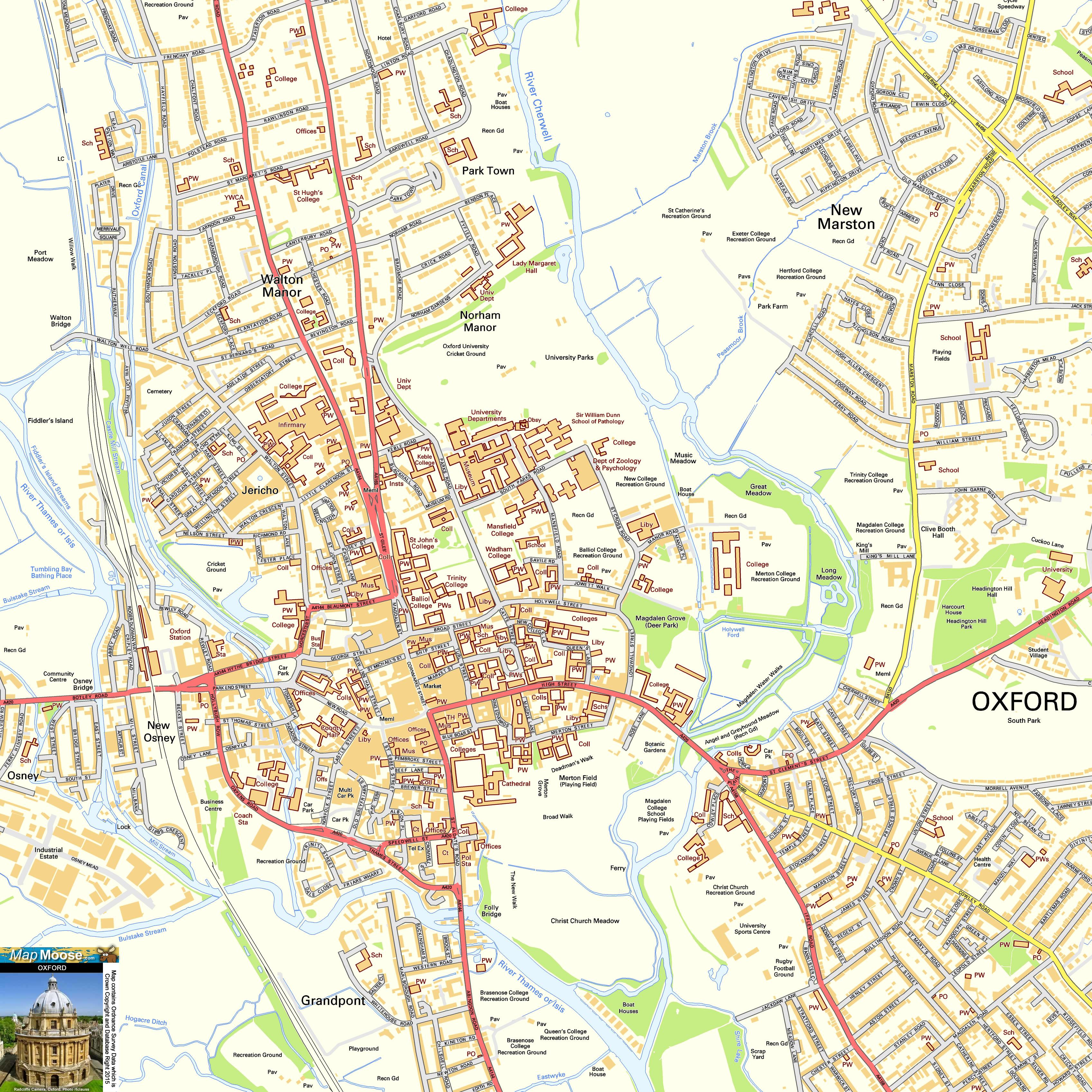 Oxford Offline Street Map including Oxford University River Thames