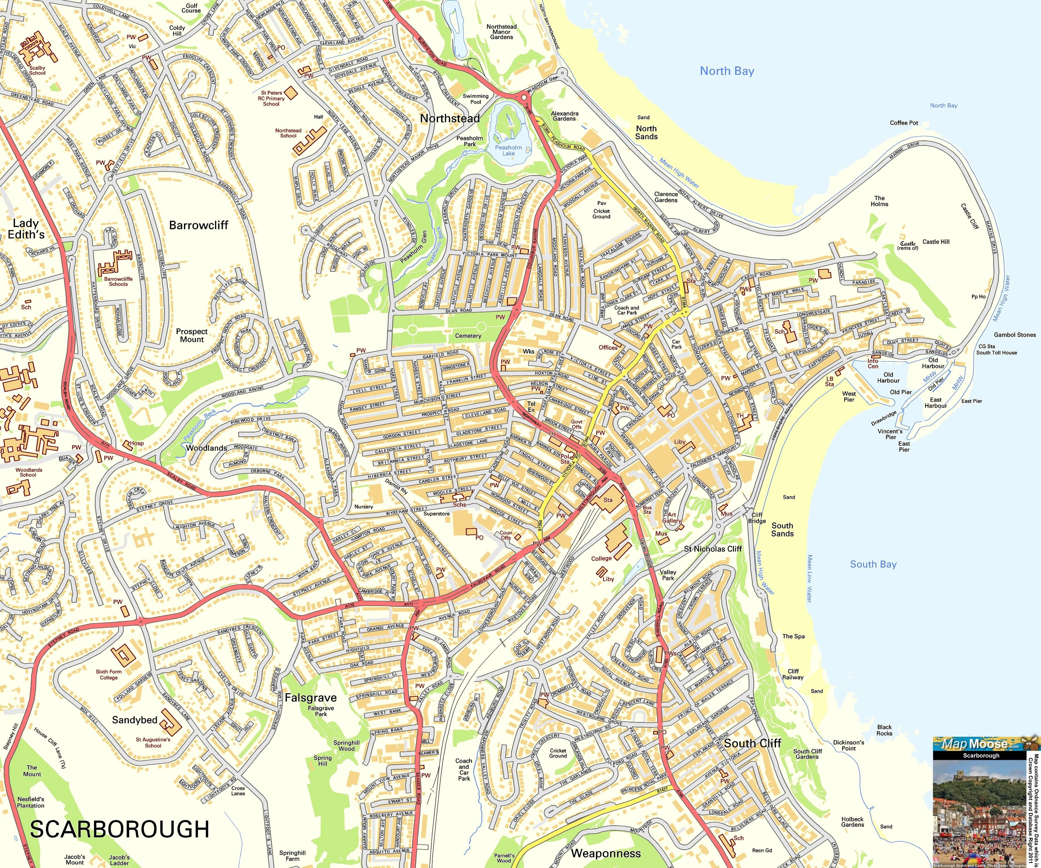 Scarborough Offline Street Map, including Scarborough Castle