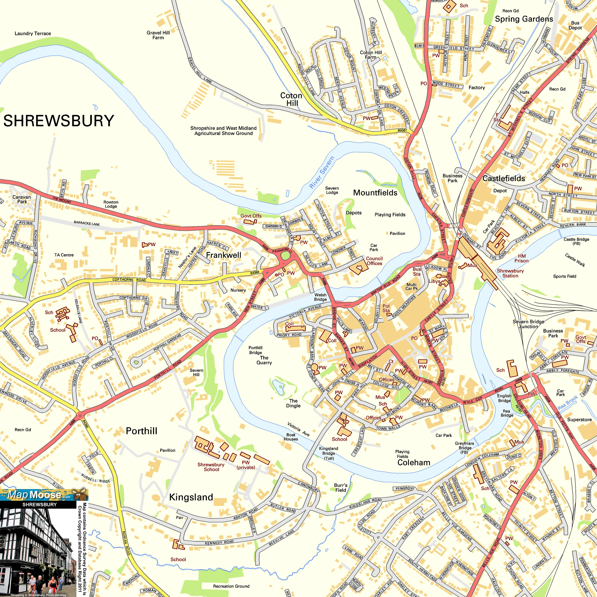 Shrewsbury Offline Street Map including River Severn Castlefields
