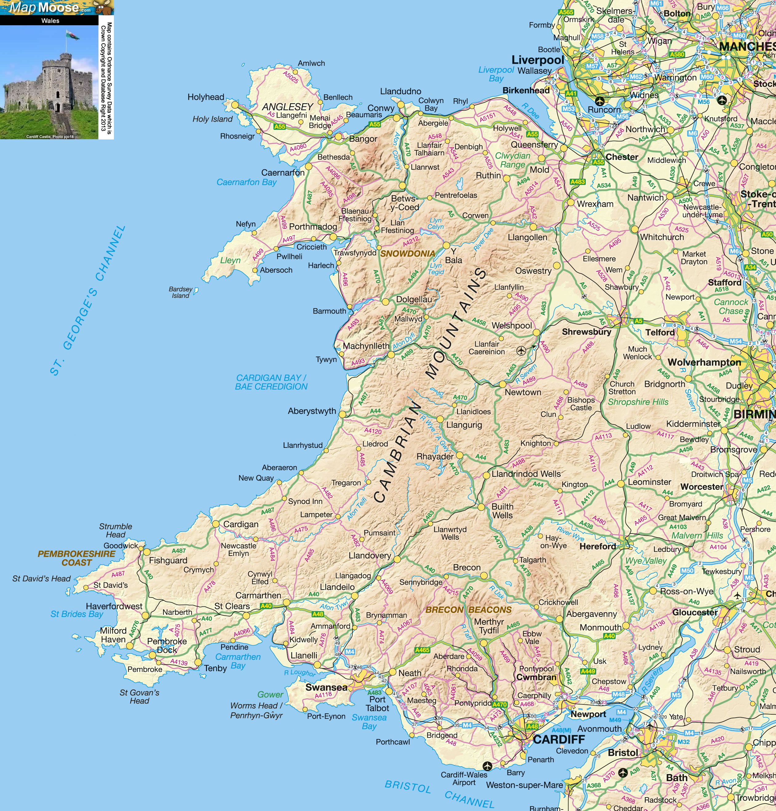 Wales Offline Map including Anglesey Snowdonia Pembrokeshire and