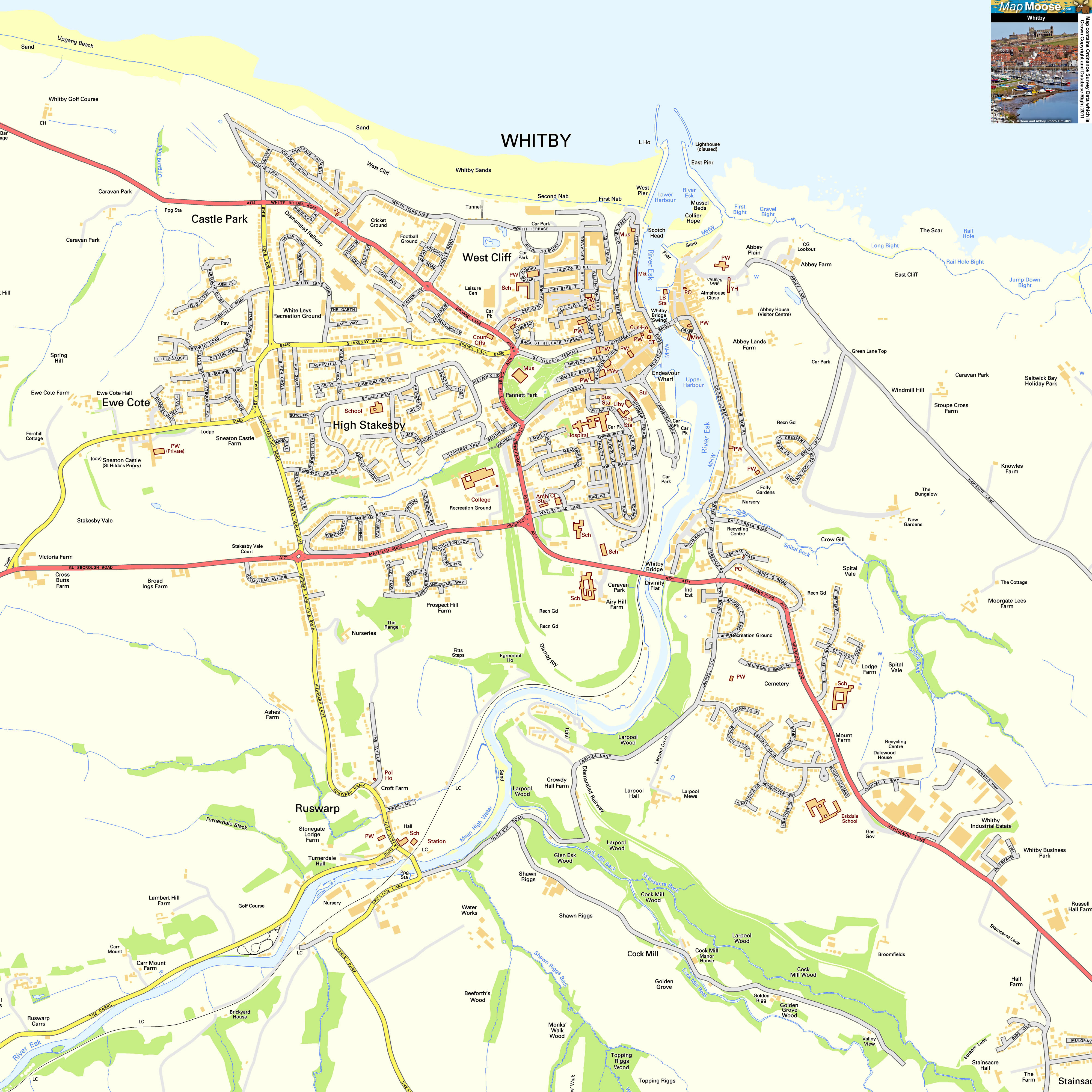 Whitby Offline Street Map including Whitby Abbey Harbour River