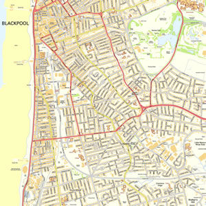 Blackpool Offline Street Map including the Blackpool Tower Princes