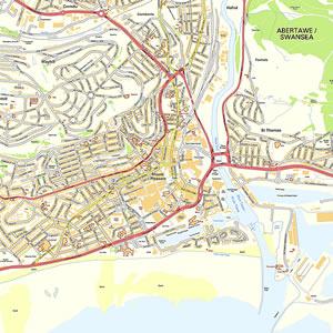 Swansea Offline Street Map including University College of Swansea